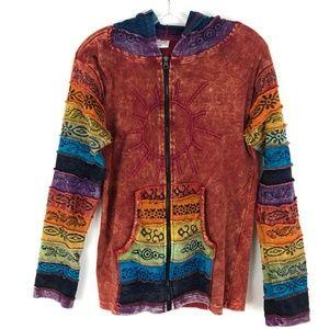 Greater Good rainbow tie dye hoodie jacket hippie